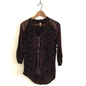 Anthropologie Tiny Sequin Shoulder Velvet Blouse